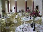 Great Hall set up for Reception with 104 Seated on long and Round Tables