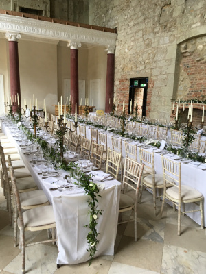 Woodland themed reception in Great Hall for 80